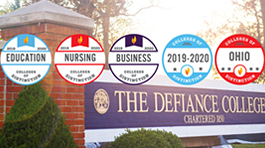 Defiance College sign with 5 Colleges of Distinction badges over the photo