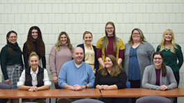 8 social work students, 2 executive directors from the Sanctuary shelter, and Professor Alesia Yakos-Brown
