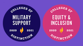 colleges of distinction badges for military support and equity & inclusion