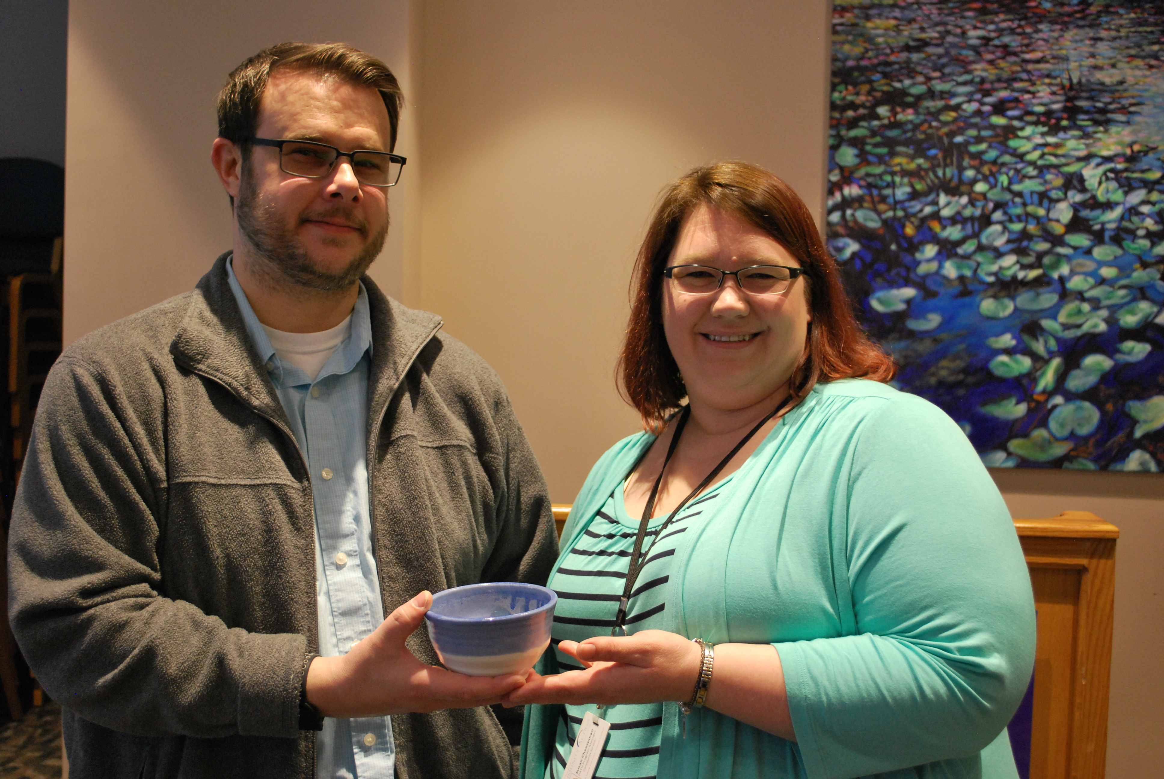 Kevin Kaplan and Susan Cheeseman with bowl from Empty Bowls event