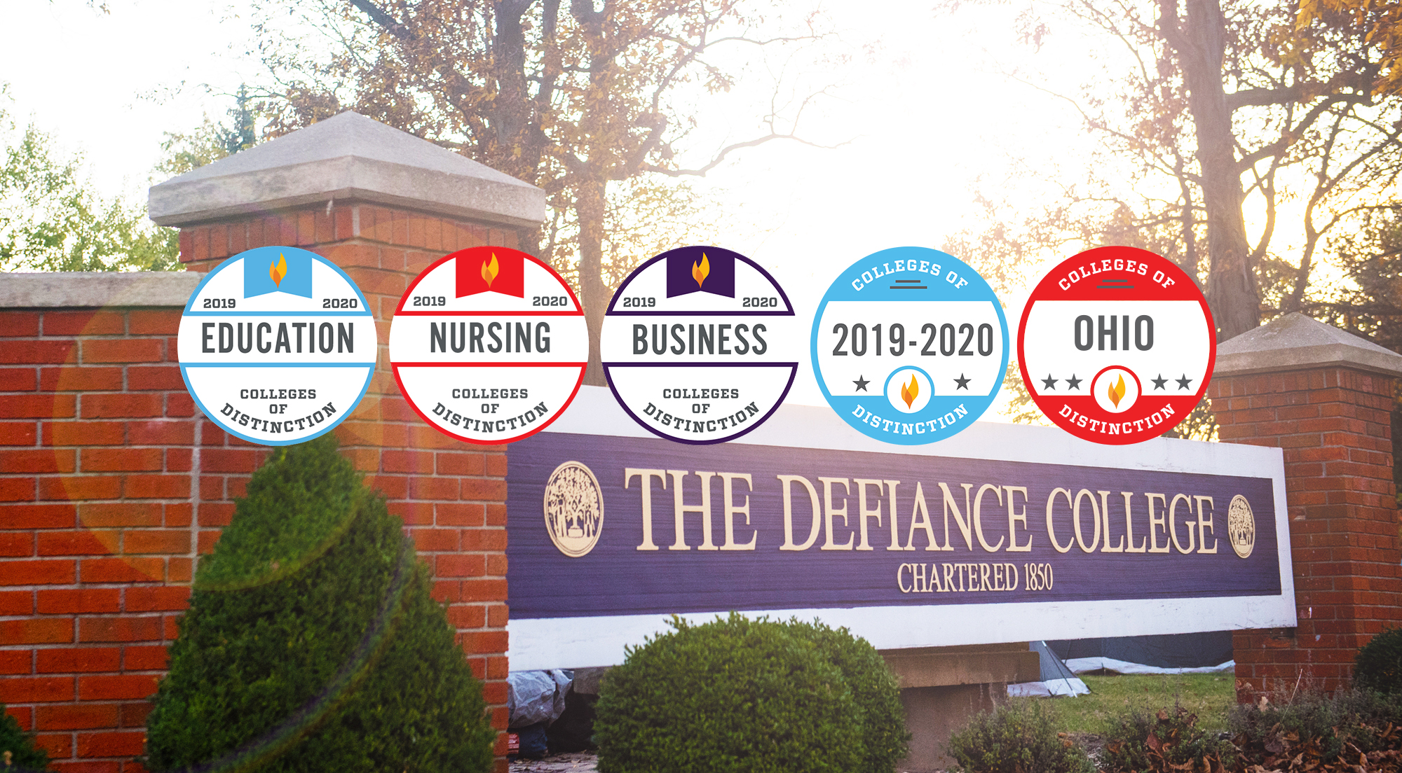 Defiance College sign with five Colleges of Distinction badges on the photo